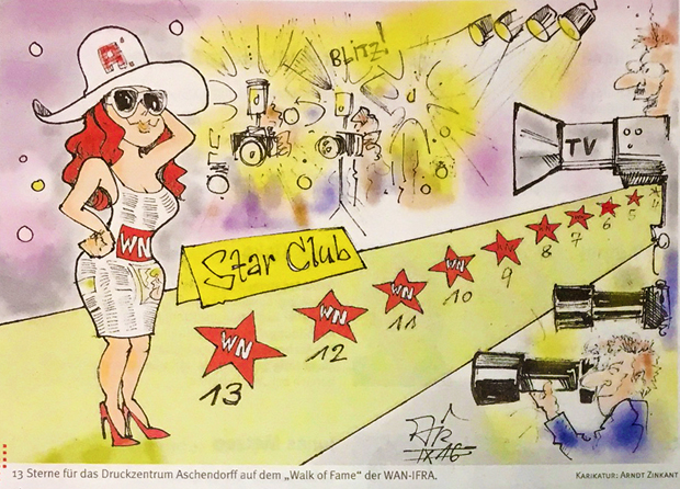 "A cartoon in the house magazine deals with reaching the first position in the ""Star Club"", Aschendorff INTERN, 30.9.2016"